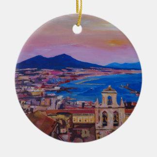 Opinión maravillosa de la ciudad de Nápoles con el Adorno Navideño Redondo De Cerámica
