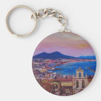 Opinión maravillosa de la ciudad de Nápoles con el Llavero Redondo Tipo Pin
