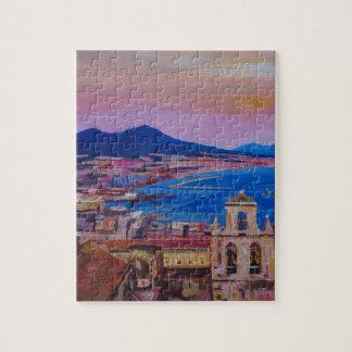 Opinión maravillosa de la ciudad de Nápoles con el Puzzle