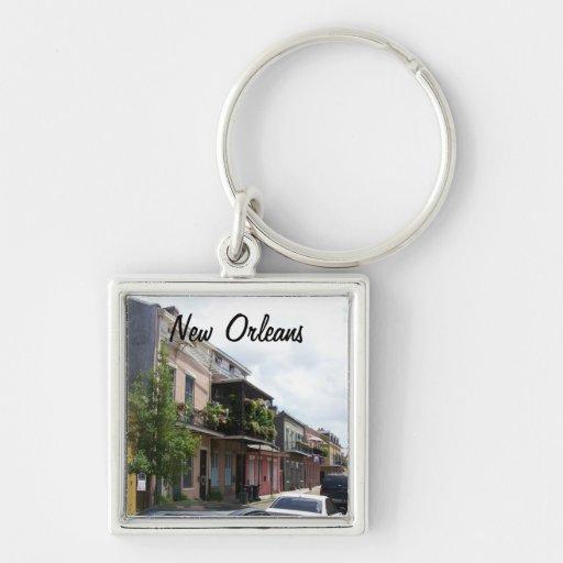 Opinión New Orleans Luisiana de la calle del barri Llavero Cuadrado Plateado