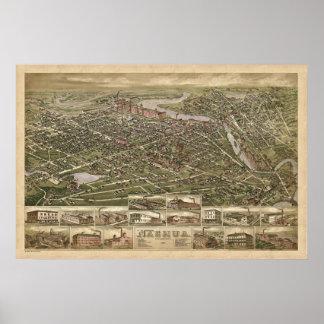 Opinión panorámica 1883 del birdseye de Nashua NH Póster