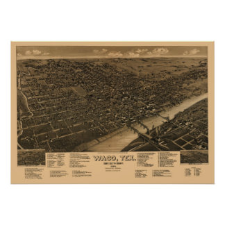 Opinión panorámica de ojo de 1886 pájaros del mapa póster