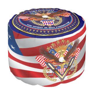 Opinión patriótica o del veterano sobre diseño puf redondo