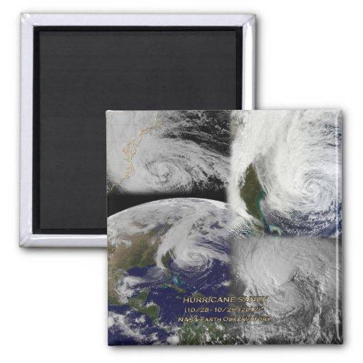 Opinión por satélite del collage del huracán Sandy Imán Cuadrado