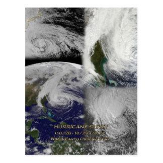 Opinión por satélite del collage del huracán Sandy Tarjeta Postal