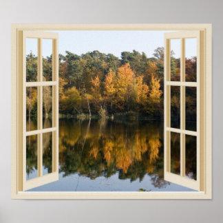 Opinión reflexiva de la ventana de los árboles de póster