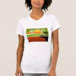 opinión retra del arco iris del sol camiseta