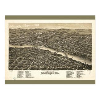 Opinión ROCKFORD Illinois (1880) del ojo de pájaro Postales