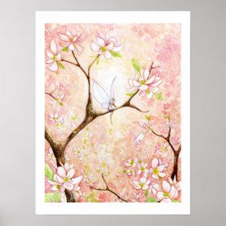 Opinión rosada del flor póster