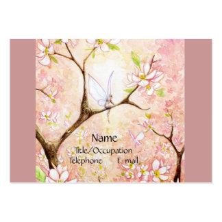 Opinión rosada del flor tarjetas de visita