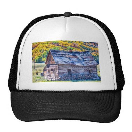 Opinión rústica rural del otoño de la cabina de la gorras de camionero