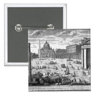 Opinión San Pedro, Roma Pin Cuadrada 5 Cm