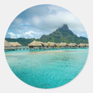 Opinión sobre la isla de Bora Bora Pegatina Redonda