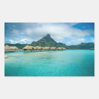 Opinión sobre la isla de Bora Bora Pegatina Rectangular