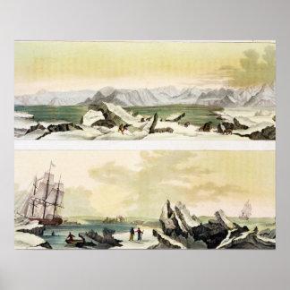 Opinión Spitsbergen con el Dorothea en del colo Poster
