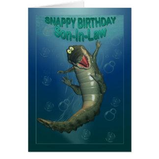 Opinión subacuática del cocodrilo feliz rápido del tarjeta de felicitación