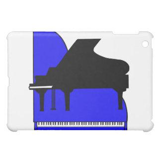 Opinión superior azul de Sillouette del piano negr