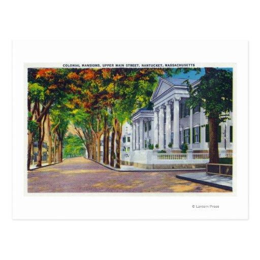 Opinión superior de calle principal de mansiones postales