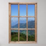 Opinión superior de la montaña de una ventana impresiones
