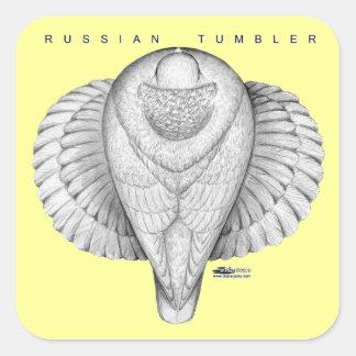Opinión superior del vaso ruso pegatinas cuadradas