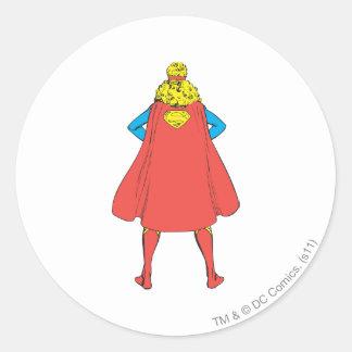 Opinión trasera de Supergirl Pegatinas Redondas