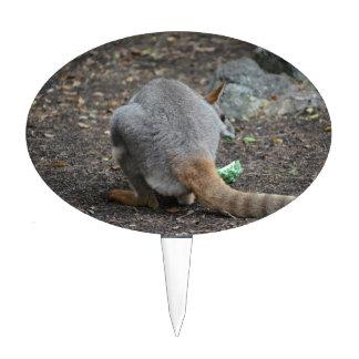 opinión trasera del wallaby que mira sobre animal decoración para tarta