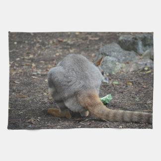 opinión trasera del wallaby que mira sobre animal toallas