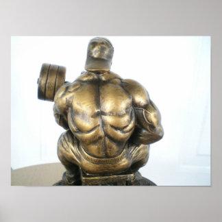 Opinión trasera el Bodybuilder Póster