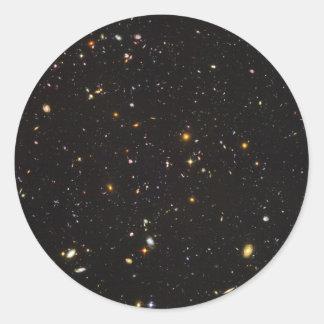 Opinión ultra profunda del campo de Hubble de Pegatina Redonda