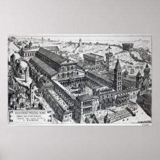 Opinión viejo San Pedro, Roma, 1891 Póster