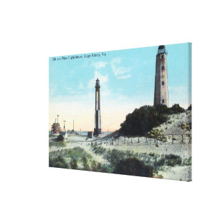 Opinión viejo y nuevo LighthouseCape Henry, VA Impresión En Lienzo Estirada