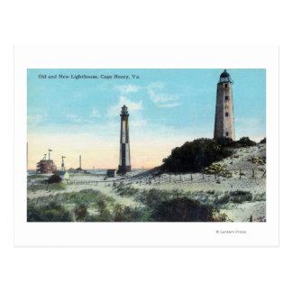 Opinión viejo y nuevo LighthouseCape Henry, VA Postales