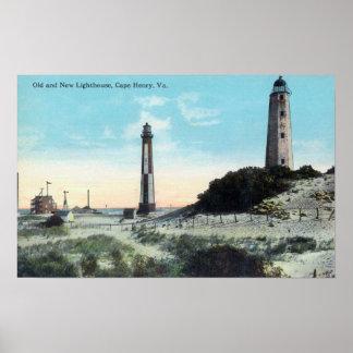 Opinión viejo y nuevo LighthouseCape Henry, VA Póster