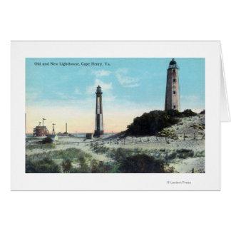 Opinión viejo y nuevo LighthouseCape Henry, VA Tarjeta De Felicitación