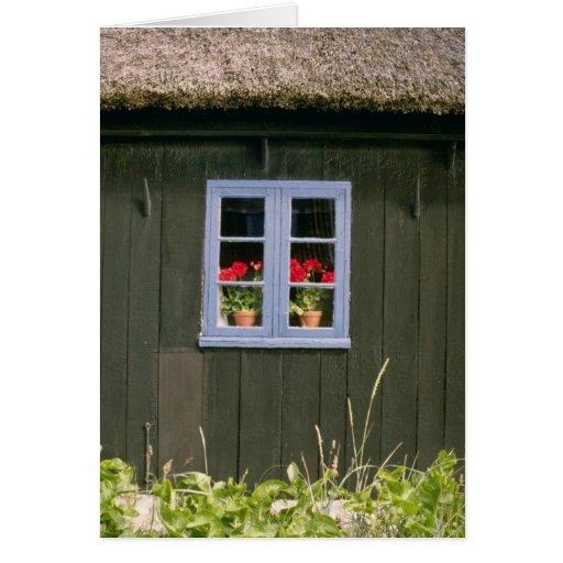 Opinión violeta del tejado y de la ventana de la h tarjetas