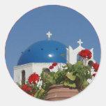 Opiniones de la iglesia sobre Santorini, Grecia Pegatina Redonda