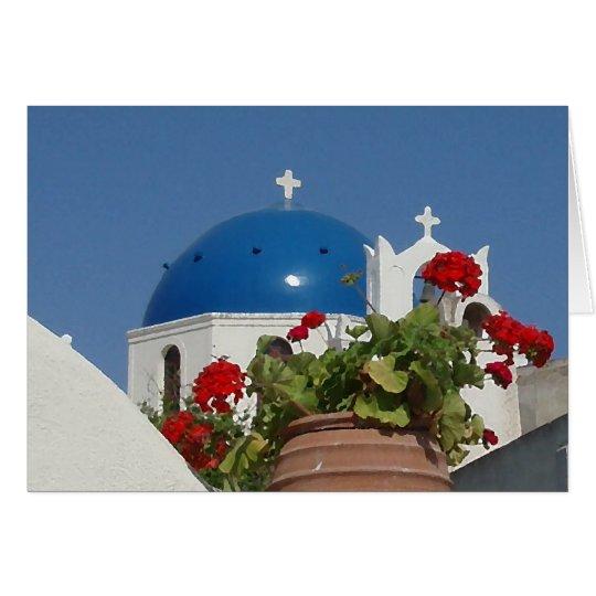 Opiniones de la iglesia sobre Santorini, Grecia Tarjeta De Felicitación