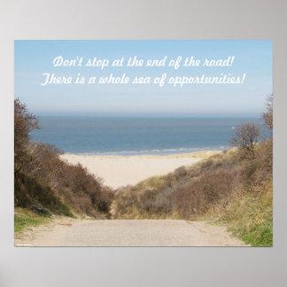 Opiniones de la playa póster