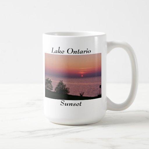 Opiniones de la puesta del sol del lago Ontario Tazas De Café