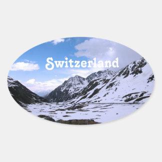 Opiniones del paisaje de Suiza Calcomanía Óval Personalizadas
