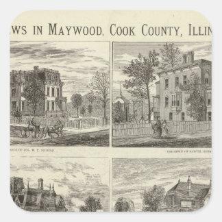 Opiniónes en Maywood, el condado de Cook, Illinois Pegatina Cuadrada