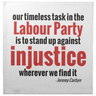 Opóngase contra injusticia servilletas de papel