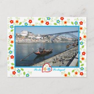 Oporto city near Douro River - old bridge zazzle_postcard