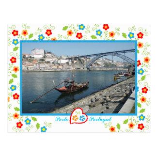 Oporto city near Douro River - old bridge Postcard