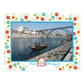 Oporto city near Douro River - old bridge Post Cards