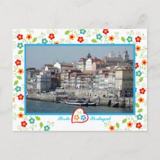 Oporto city near Douro River zazzle_postcard