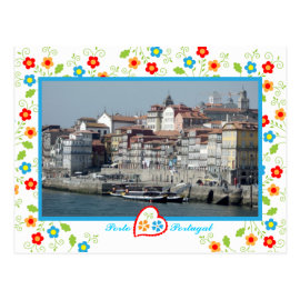 Oporto city near Douro River Postcard