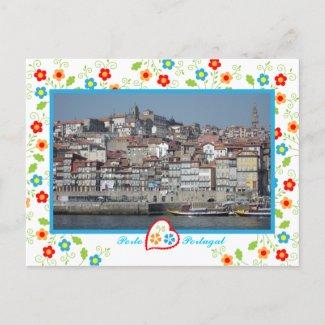 Oporto city near Douro River - Ribeira zazzle_postcard