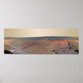 Oportunidad de Marte Rover del panorama del asilo  Poster