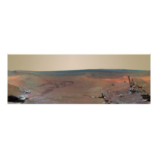 Oportunidad de Marte Rover del panorama del asilo Póster